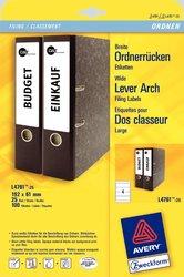 Rückenschild, Inkjet / Farblaser / Laser (s/w) / Kopierer, kurz/breit, weiß, A4, 192 x 61 mm, 100 Blatt = 400 Stück.