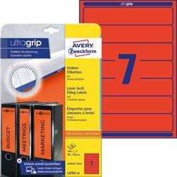 Rückenschild, Inkjet / Farblaser / Laser (s/w) / Kopierer, kurz/schmal, rot, A4, 192 x 38 mm, 20 Blatt = 140 Stück.