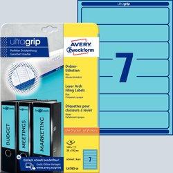 Rückenschild, Inkjet / Farblaser / Laser (s/w) / Kopierer, kurz/schmal, blau, A4, 38 x 192 mm, 20 Blatt = 140 Stück.