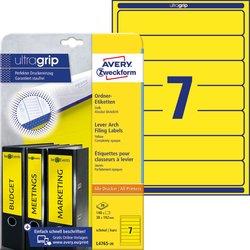 Rückenschild, Inkjet / Farblaser / Laser (s/w) / Kopierer, kurz/schmal, gelb, A4, 38 x 192 mm, 20 Blatt = 140 Stück.
