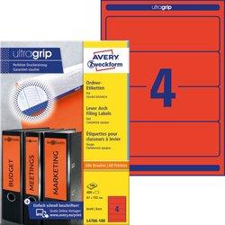 Rückenschild, Inkjet / Farblaser / Laser (s/w) / Kopierer, kurz/breit, rot, A4, 61x192 mm, 100Blatt = 400 Stück.
