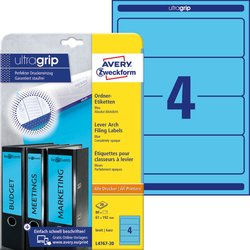 Rückenschild, Inkjet / Farblaser / Laser (s/w) / Kopierer, kurz/breit, blau, A4, 61x192 mm, 20 Blatt = 80 Stück.