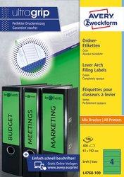 Rückenschild, Inkjet, Farblaser / Laser (s/w) / Kopierer, kurz/breit, grün, A4, 61 x 192 mm, 100 Blatt = 400 Stück.
