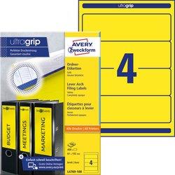 Rückenschild, Inkjet / Farblaser / Laser (s/w) / Kopierer, kurz/breit, gelb, A4, 61 x 192 mm, 100 Blatt = 400 Stück.