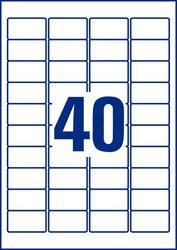 Avery Zweckform transparente Folienetiketten, 45,7x25,4mm, 1000 Etiketten, öl- und schmutzabweisend, Laser- und Farblaserdrucker Packung à 25 Blatt, Blattformat: DIN A4, QuickPeel Abziehilfe