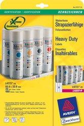 Wetterfeste Folien-Etiketten, für Farblaser / Laser s/w / Kopierer, 63,5 x 33,9 mm, weiß.