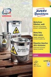 Wetterfeste Folien-Etiketten,  für Farblaser /  Laser s/w / Kopierer, 45,7 x 21,2 mm, weiß.