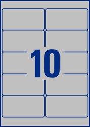 Avery Zweckform Typenschildetiktetten, 96x50,8mm, 200 Etiketten, matt, silber, öl- und schmutzabweisend, abwaschbar, für Laserdrucker, Packung à 20 Blatt, Blattformat: DIN A4