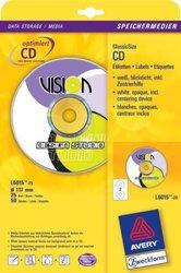 Inkjet ClassicSize CD-Etiketten, 117mm, inkl. Zentrierhilfe, weiß, CD-Etiketten bedecken die Fläche der CD aber nicht die durchsichtige Mitte. VE = 1 Packung = 25 Blatt.