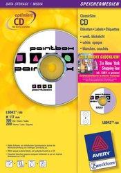 Inkjet CD-Etiketten, Ø 117 mm, weiß.