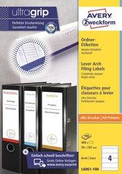 Rückenschild für Inkjet-, Laser-, Farblaserdrucker und Kopierer, kurz/breit, weiß, 192 x 59 mm, 100 Blatt = 400 Stück.