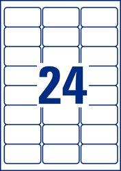 Kraftkleber-Etikett, 63,5 x 33,9 mm weiß, für permanente Anwendung, 20 Blatt/480 Stück.
