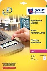 Sicherheits-Etikett, 63,5 x 33,9 mm, weiß, für extra sichere Anwendung.