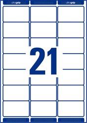 Etiketten, weiß, permanent, für Laser- und Farblaserdrucker, 63,5 x 38,1 mm, 40 Blatt = 840 Stück.