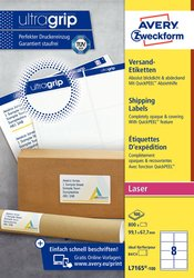 Etiketten, weiß, permanent, für Laser-, Farblaserdrucker und Kopierer, 99,1 x 67,7 mm, 100 Blatt = 800 Stück.