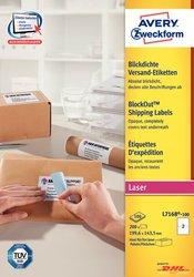 Etiketten, permanent, weiß,  für Laser-, Farblaserdrucker und Kopierer, 199,6 x 143,5 mm 100 Blatt = 200 Stück.