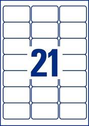 Polyester-Etiketten transparent, 63,5 x 38,1 mm, 25 Blatt = 525 Stück.