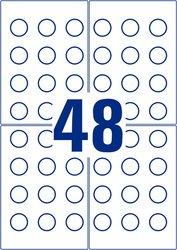 Avery Zweckform abziehsichere Prüfplakette aus Folie, Ø 20mm, 480 Etiketten, weiß, zerbricht beim Abziehen in kleine Einzelteile, wetterfest, öl- und schmutzabweisend, Löse- und Reinigungsmittel resistent, strapazierfähig, für Laser-, Farblaserdrucker, Kopierer, Packung à 10 Blatt, Blattformat: DIN A4