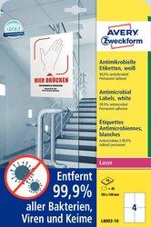 Antimikrobielle-Etiketten, 105 x 148 mm, weiß.