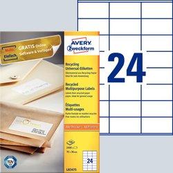Etikett Inkjet, Laserdrucker (s/w), Farblaserdrucker, Kopierer, 70 x 36 mm, weiß.