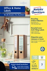 Ordner-Etiketten Recycling schmal, 38 x 192 mm, naturweiß, permanent,  für I/L/K. VE = 1 Packung = 10 Blatt = 70 Stück.
