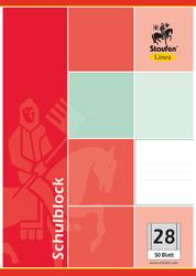Schulblock, A4, kariert, Papier 60g, 50 Blatt, 4-fach gelocht, Doppelrand