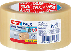 tesapack ultra strong, 66m x 50mm, transparent, PVC-Quallität, extrem