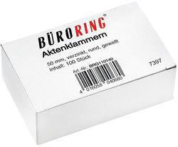 Büroring Aktenklammern 50mm/100 verzinkt gewellt rundVE = 1 Schachtel = 100 Stück