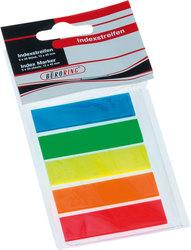 Büroring Index Haftstreifen aus Folie(PET), blau,grün,gelb,orange,VE = 1 Stück = 5 x 26 Streifen