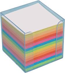 Büroring Zettelbox transparent Kunststoff, 9x9x9cm, farbiges Papier