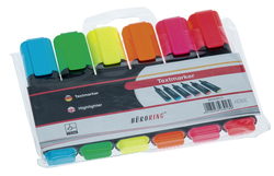 Büroring Textmarker 6er Etui, mit Keilspitze 2-5mm, gelb,rot,grün,