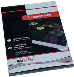 Büroring Laminierfolie, A4, 80mic VE = 1 Packung = 100 Stück