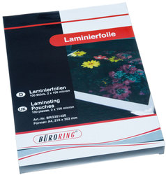 Büroring Laminierfolie, A4, 100mic VE = 1 Packung = 100 Stück