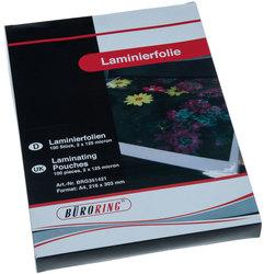 Büroring Laminierfolie, A4, 125mic VE = 1 Packung = 100 Stück