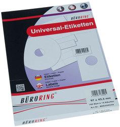 Büroring Etiketten, A4, 97 x 42,3mm, 1200 Etiketten1 Packung = 100 Blatt