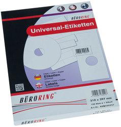 Büroring Etiketten, A4, 210 x 297mm, 100 Etiketten1 Packung = 100 Blatt