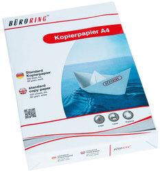 Büroring Kopierpapier, A4, weiß holzfrei, 80g/qm, für Inkjet, Laser,VE = 1 Packung = 500 Blatt