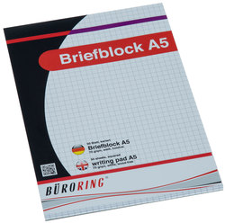 Büroring Briefblock A5/50 Blatt kariert, holzfrei, weiß