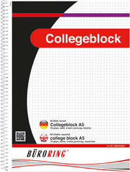 Büroring Collegeblock, A5/80 Blatt, kariert, holzfrei, weiß, 70g/qm