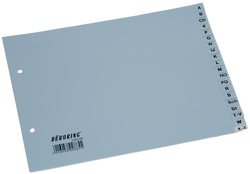 Büroring Register A-Z Sparformat, A4, 20-teilig, PP-Folie, grau,