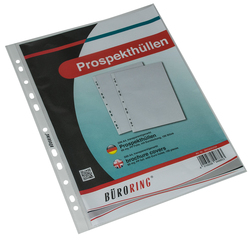 Büroring Prospekthülle A4 PP-Folie 60my genarbtVE = 1 Packung = 100 Hüllen