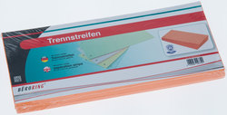 Büroring Trennstreifen orange 10,5x24cm, 190g/qm Karton, gelochtVE = 1 Packung = 100 Stück