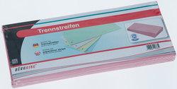 Büroring Trennstreifen rosa 10,5x24cm, 190g/qm Karton, gelochtVE = 1 Packung = 100 Stück