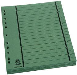 Büroring Trennblätter A4 grün vollfarbig, schwarzer OrgadruckVE = 1 Packung = 100 Stück