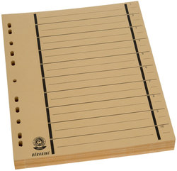 Büroring Trennblätter A4 gelb vollfarbig, schwarzer OrgadruckVE = 1 Packung = 100 Stück