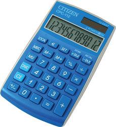 Citizen Tischrechner CPC-112 blau, Solar- und Batteriebetrieb, Prozent-