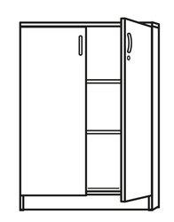 Flügeltürenschrank weiß inklusive 2 Holz-Fachböden