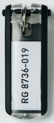 Schlüsselanhänger Key Clip sw aus Kunststoff mit sichtbarem1 Beutel = 6 Stück