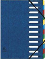 Eckspann-Ordnungsmappe 12 Fächer blau 425g/qm Manila Karton, Innenfach