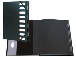 Ordnungsmappe 9 Fächer schwarz Fester Deckel mit dehnbaremRücken, 24x32cm für A4